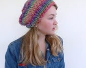 Chunky knit beanie , chunky knit hat , hand knitted beanie , Winter slouch hat, Womens Gift for her - womens hat