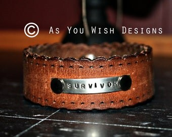SURVIVOR Fossil Upcycle Leather Cuff Up-cycled Leather Cuff Bracelet From Fossil Belt Upcycle Upcycled
