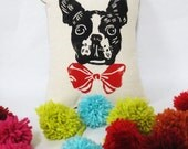 Boston Terrier Block Printed Pillow - Your Choice of Bow Tie Color - Includes Pillow Insert