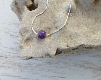 Amethyst Necklace, Purple Gemstone Bead Necklace, Tiny Minimalist Necklace, Dainty Amethyst Sterling Silver chain, Simple Charm Necklace