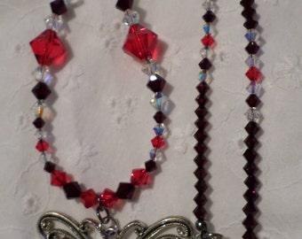 Red Butterfly Swarovski Crystal Necklace