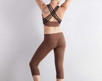 Brown Quest Top - Crop Top - Organic Cotton Top - Brown Top - Bellydance Top - Athletic Top