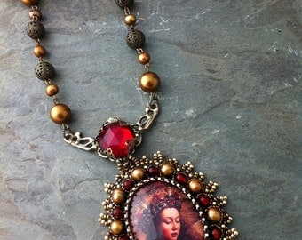 SALE 50% off - Madonna Necklace, Bead Embroidered Glass and Freshwater Pearl Necklace, Medieval Necklace, Red Glass Warm Colors