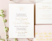 INVITATION SAMPLE The Affair Suite - Gold Calligraphy Wedding Invitation - Heirloom Wedding Invitations by Sincerely, Jackie