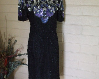 Black Beaded/ Sequined  Dress  By  Lawrence Kazar -1980s - Silver/Blue Sequins - Formal  Wear - Party, - Cruise, #1497