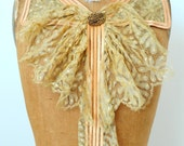 Amazing antique french silk lace jabot with victorian button ruffle collar peach color