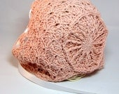 Crochet baby bonnet - crochet baby hat baby girl hat ribbon pink traditional style crochet shell textured crown circle knit baby sun hat