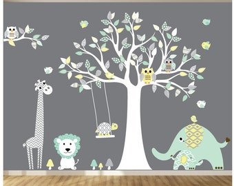 Childrens Wall Decal - Aztec Patterned Wall Art - Patterned Animals - Modern Wall Decals