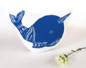 Plush Narwhal Pillow. Hand Woodblock Printed. Choose ANY Color. Made to order.