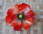 Beautiful very realistic red poppy hair flower and brooch vintage inspired top quality art nouveau pin up rockabilly remembrance day