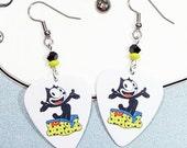 Felix the Cat - Cat Earrings - Guitar Pick Earrings