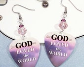 Christian Earrings - Bible Scripture Art Guitar Pick Earrings - John 3:16
