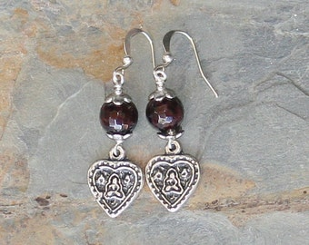 Heart Earrings, Garnet Earrings, Natural Stone Earrings, Prayer Earrings, Meditation Earrings, Handmade Gemstone Earrings, Burgundy Earrings