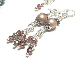 Dusty Pink Earrings, Pale Amethyst Crystals & Silver Beading, Sterling Wires, Glass Pearl Dangle Earrings, Pink and Amethyst, SRAJD