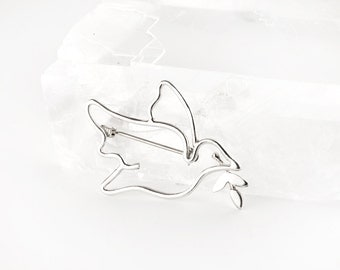 Peace Dove Sterling Silver Pin Brooch