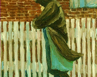 """Oil Painting Art Print """"Walking Home In The Rain"""",Figure walking,Alone,Moody, Fine Art,Print from original painting by Patty Fleckenstein"""