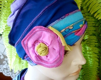 Chemo Hats Summer Hat turquise lilac blue with pink flower