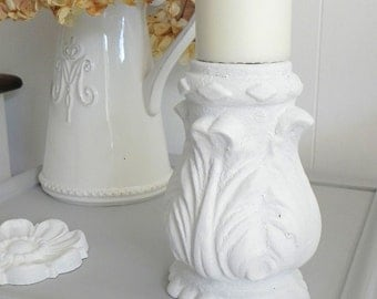 Candle holder - Hand painted Victorian Iron Cemetery Salvage with Scrolls