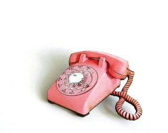 pink rotary phone brooch pin . vintage telephone tie tack