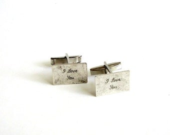 I love you cufflinks ( in cursive ) . love letter cuff links . grooms gift . anniversary gift . mens gift . birthday gift