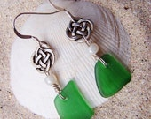 Sea Glass Beach Glass Earrings in True Green with Silver Celtic Knot Beads and Glass Pearl Beads on Sterling Silver Ear Wires EG 44