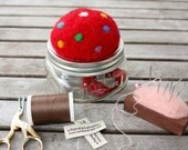 felted red toadstool mason jar sewing kit needle felted pincushion woodland decoration