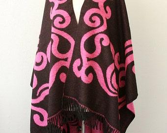 Native poncho Winter cape Bohemian outerwear Women ponchos Black poncho capelet Boho shawl Oriental design cape coat Gift for mother