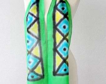 Hippie scarf Geometric head scarf Boho chic scarf Tribal shawl Cotton summer scarf Batik bandana Skinny scarves Green head scarf Aztec scarf