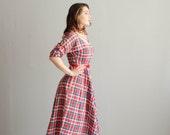 50s Plaid Dress - Vintage 1950s Dress - Deerfield Plaid Dress