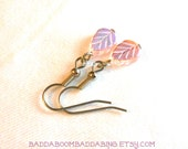 Rose Pink Iridescent Czech Leave Earrings Surgical Steel French Hooks