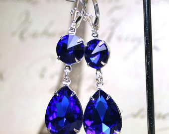 Long Vintage Sapphire Blue Earrings - Royal Blue and Silver Earrings - Sterling Silver Leverbacks