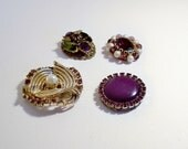 Set of 4 Recycled Vintage Beaded and Rhinestone Royal Purple Amethyst Jewelry Frig Magnets