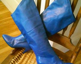 80s ALBERTO D. MOLINA--Cobalt Blue Italian Leather Boots--Can Be Worn Long or Folded Over--Size 6