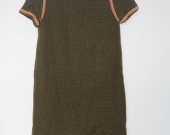 60s olive green shift dress