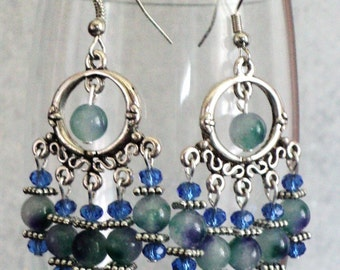 Chandelier Earrings, Blue and Green, Gypsy Earrings, Bohemian Earrings, Boho Earrings, Shabby Chic Earrings - OCEAN BREEZE