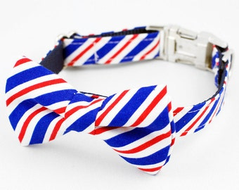 Bow Tie Dog Collar - Red, White and Blue Stripe