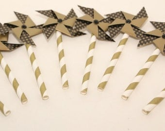 Pinwheel Cupcake and Cake Toppers 8 Gold and Black