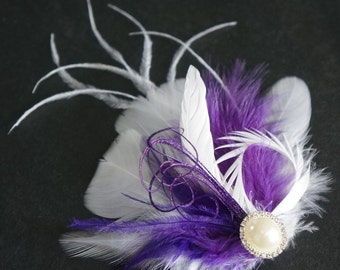 Purple White Feather Hair Clip Amethyst Regency Wedding Bridal Bride Bridesmaid Prom Fascinator LEI Headpiece Pearl Rhinestone Customizable