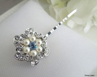 Bridal Hair Pin Rhinestone Pearl Hair Pin ivory swarovski pearl crystal Wedding Hair Pin Bridal Rhinestone Hair Pin something Blue AMELIA