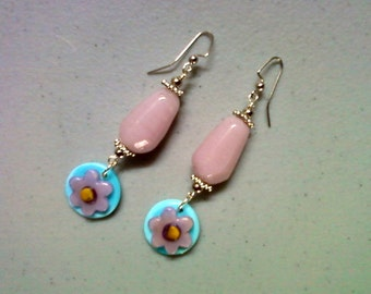 Milky Pink and Blue Flower Earrings (1178)