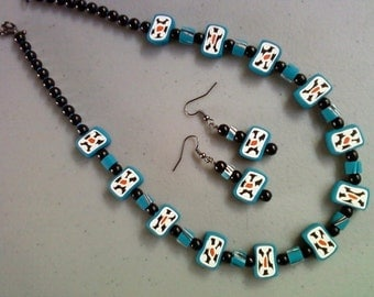 Teal, Black and White Necklace and Earrings (0076)