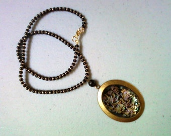 Pink, Blue, Green, Gold and Black Cabachon Necklace (0458)
