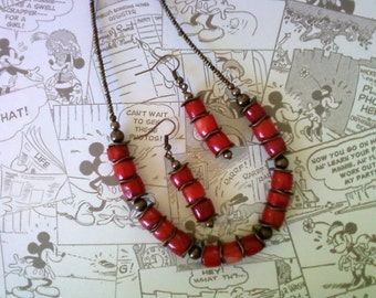 Red Coral Necklace and Earrings (1761)