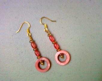 Pink Shell Earrings (0682)