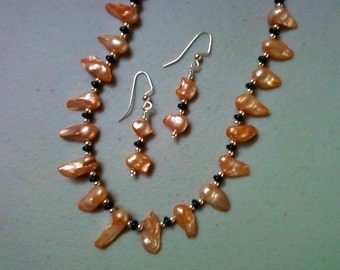 Orange, Silver and Black Blister Pearl Necklace (0485)