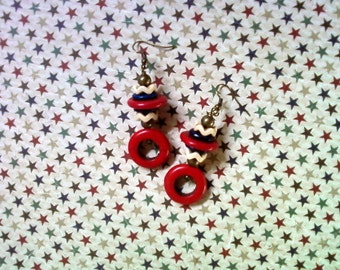 Red, White and Blue Patriotic Earrings (2091)