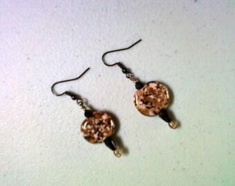 Brown, Black and White Lampwork Earrings (0236)