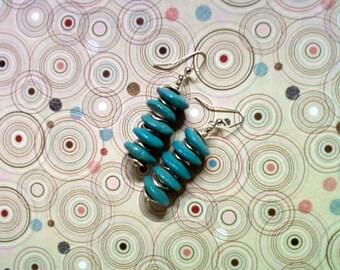 Aqua Blue Ceramic Disk Earrings (2096)