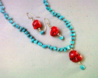 Turquoise and Red Southwestern Necklace and Earrings (0503)