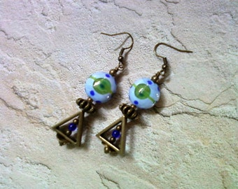 Blue and Green Earrings (1568)